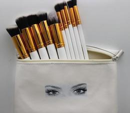 Pinceaux de maquillage mis en pièces en Ligne-HUDA pinceaux de maquillage professionnel 10 pièces pinceau de maquillage ensemble + pochette en cuir DHL Livraison gratuite