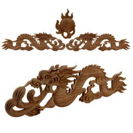 Dragones de madera chinos online-Dragón chino Vintage Sin Pintar Madera Carvedl Esquina Marco Apliques Para el Hogar Puerta de Gabinete de Pared Decorativo Miniatura De Madera Craft J190713