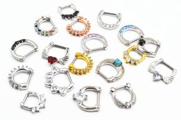 Nasenringe stile online-50pcs 16g ~ 1.2mm Hot Clicker Nose Hoop Septum Jewerly CZ-Nasen-Ring Körper piercing Schmuck Mix Styles Chirurgenstahl Bar