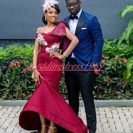 um ombro alto baixo vestido formal Desconto Moda Chique Africano Cetim Vestidos de Noite 2019 Alta Baixa Flor de Um Ombro Sereia Formal Vestidos de Festa Vestido de noche Vestido de Baile