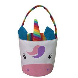 Sacchetti di benna della tela di grandi dimensioni online-Easter Basket Grande Tela modello unicorno colorato Bucket Bag di nuovo disegno all'ingrosso regalo bello unicorno Easter Basket MMA1500 50p-6