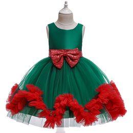 2019 vestido verde sin mangas Ropa de fiesta de Navidad vestidos de niña verde rojo de la princesa vestido de los cabritos longitud de la rodilla Vestidos de la princesa del tutú del partido de Navidad Niños de vestuario vestido verde sin mangas baratos
