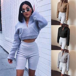 2019 suéter de ganchillo suelto verano HIRIGIN El más nuevo 2020 Womens Winter Warm Teddy Bear Pocket Fluffy Sweaters cortos Fleece Fur Prendas de abrigo Snow Hot lady Clothes