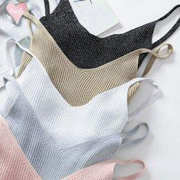 chemise en lin sans manches Promotion Lurex Glitter Tops été Slim femmes Débardeur sexy col en V Linen Camisole sans manches en tricot shirt Femme
