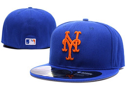 2019 caps ny azul Wholesale Mets na cor azul campo Equipado Bonés De Beisebol Equipe Esportes Carta laranja ny Plano Cheio Fechado Bonés Bones Barato das Mulheres dos homens caps ny azul barato