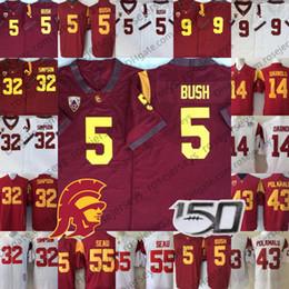 Camisetas de troy polamalu online-2020 Vintage USC Trojans Jersey # 5 Reggie Bush 32 OJ Simpson 14 Sam Darnold 9 Kedon Slovis 43 Troy Polamalu 55 Seau