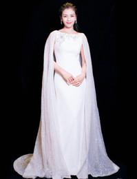 vestido de festa xale elegante Desconto Custom Made New Alta Qualidade-Long-Tailing Atmosfera Solene Elegante Vestidos de Baile Branco Mop Xaile Partido Evening Vestidos HY036