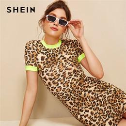 adelgazante vestidos colorblock Rebajas SHEIN Colorblock Forma Fitted Leopard Ringer Vestido 2019 Delgado de manga corta de las mujeres del collar del soporte elástico de verano vestidos ajustados