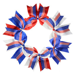 Pajarita para el pelo online-USA Flag Ponytail Holder 8Inch Cheerleader Bowknot Elastic Hair Ties Accesorios para el cabello Dovetail Bow Hair Ring Jewelry Christmas Gift