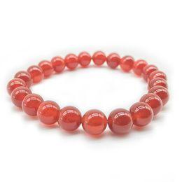 Pulseiras de coral laranja on-line-Yoga orange vermelho calcedônia jades vertente pulseiras pulseiras de coral natural pulseira para mulheres dos homens jóias 4mm 6mm 8mm 10mm 12mm 14mm