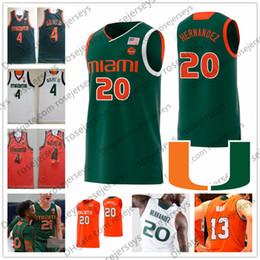 Miami camisa de basquete on-line-NCAA Miami furacões # 4 Lonnie Walker IV 20 Dewan Hernandez 22 Deng Gak 23 Kameron McGusty verde branco laranja preto camisa de basquete 4XL
