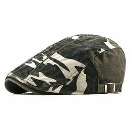 2019 chapeau de laine noir oreille de chat 2019 Printemps Été Casquettes Gavroche Hommes Camouflage Coton Plat À Capuchon Chapeau Femmes Peintre Béret Chapeaux 20