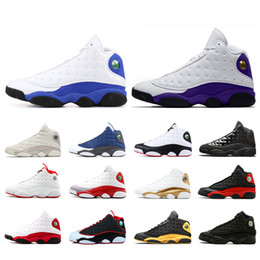 2019 top noms de designer Nike air Jordan retros 13 airJordanrétroretros13 Chaussures de basket pour hommes Court violet Hyper Royal Baskets Black Cat Phantom Trainer top noms de designer pas cher