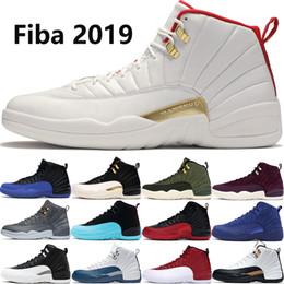 Zapatos de baloncesto ovo online-2019 Fiba Jumpman 12 12s zapatos de baloncesto de los hombres Negro juego real CNY Gamma Azul ovo zapatos rojos para hombre negro de diseño de gimnasia 40-47