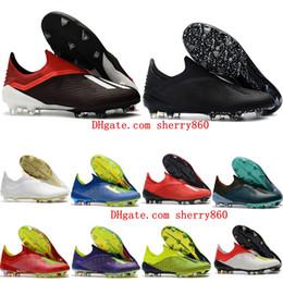 Argentina 2018 botines de fútbol para hombre x 18 fg zapatos de fútbol botas de fútbol originales scarpe da calcio de alta calidad Nemeziz blackout Suministro