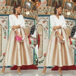 trajes formais da noiva da mãe Desconto 2019 V Neck Vintage Vestidos da Mãe Tornozelo Comprimento A Linha 3/4 Manga Comprida Ocasião Formal Mãe Da Noiva Vestidos Outfits Custom Made