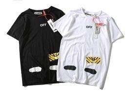 Argentina 19SS tendencia básica de la moda chorro de tinta graffiti splash tinta raya velocidad parejas hombres y mujeres camiseta de manga corta cheap stripe basics Suministro