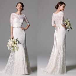 fita de vestido de volta Desconto 2019 vestidos de casamento do laço do vintage com fita frisada botões Voltar vestidos de casamento Metade mangas vestido barato