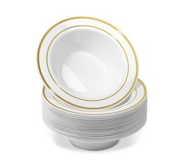guarnição de ouro de placa Desconto 25pcs descartáveis ​​de plástico Bowls-12 oz Sopa Bowls - guarnição do ouro Real China design - Placas Heavy Duty plástico para casamento