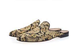 Scarpe da uomo di lusso Scarpe di tela ricamate a mano dorate Slip-on Ciabatte con abbellimenti in cristallo Scarpe casual da uomo da scarpe ricamati a mano fornitori