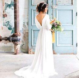 vestidos de casamento Desconto Verão 2019 vestidos de noiva de praia boho profundo v neck cut out mangas backless simples chiffon vestidos de noiva custom made