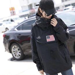 Lange fahnen online-Mode Männer Kleidung US Flag Print Langarm Winter Windjacke 4 Farben Herren Mantel Größe M-XL