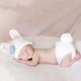 Photo de costume de bébé en Ligne-Accessoires de photographie de bébé enfant en bas âge lapin tenue nouveau-né fotografie accessoires crochet vêtements pour bébé photo prise de vue bébé