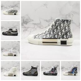Alte scarpe da tennis online-Dior Scarpe piattaforma epoca 19FW B23 obliqua Alto Basso Top Sneakers Obliques tecnico di cuoio di lusso delle donne di modo formatori Dimensione 36-44 Mens