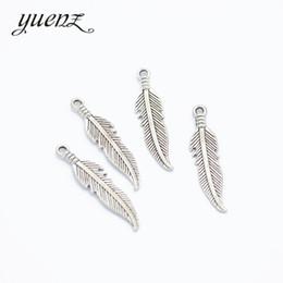 Colar de prata e pena de charme on-line-Encantos baratos YuenZ 30 pcs de Prata Antigo Encantos De Penas De Metal pingente Fit pulseira colar de jóias fazendo 27 * 6mm D320