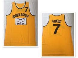 Dividir mochilas esportivas on-line-Novos homens Toni Kukoc Jersey # 7 Jugoplastika Dividir A versão do filme Basketball Jerseys Amarelo Esporte ao ar livre camisas curtas Logos Costurados