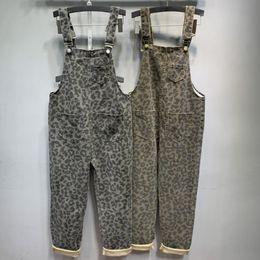 Брюки леопардового комбинезона онлайн-2019 Women Leopard print Dungaree Overalls Casual Loose Vintage Bib Romper Suspender ankle length Pants Pockets Jumpsuit