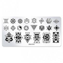 Estampado de uñas de arte x online-1 x Patrón 3D Nail Art Geometría Estampación Placas Plantillas de Acero Inoxidable Para Uñas 6 * 12 cm Rectángulo Plantillas de Placas DIY OM-D19 #
