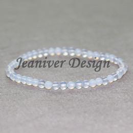 Pulseira de pedra opala on-line-Jeaniver 2019 Design Vintage Yogi Bracelet 4 mm Opal Natural Stone Beads Bracelet Mini Gem Stone Energy Bracelet