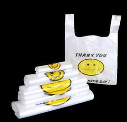 2019 sacchetti ziplock rossi Trasparente volto sorridente portatili sacchetti di plastica su misura materiale fresco impermeabile multiuso Vest Shopping Bags A11 all'ingrosso