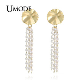big drop pearl earrings Coupons - UMODE Big Gold Round Long Drop Earrings for Women Korean Pearl Dangle Earrings Statement Gift Fashion Jewelry Accessories UE0507