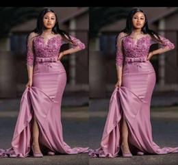 Modes robes en Ligne-Modes Robe de Soirée Sirène Arabe Sirène Soirée Satin Applique Manches 3/4 Robe Taille Plus