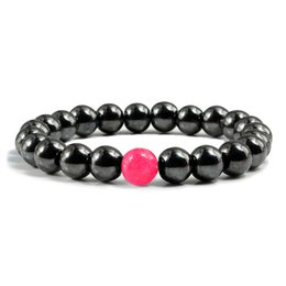 Защищать ювелирные изделия онлайн-Personality Natural Black Stone Bracelets Protect Healthy Hematite Energy Bangle Women Men Charm Beaded Jewelry Gift Accessories