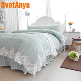 Encaje conjunto de edredón online-Conjuntos de ropa de cama Svetanya Lace Princess Ropa de cama de algodón Full Queen King size Funda de edredón Funda de almohada