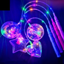 bobo cartoon Coupons - LED Flashing BOBO Ball Transparent Luminous Lighting Balloons Toys Cartoon Handhold Balloon Christmas Party Wedding Decoration GGA2958