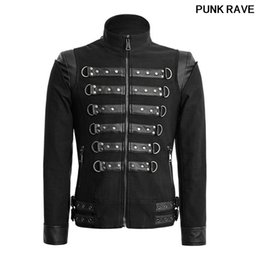 d835abc9a5cf3 Gothic Lace-up Stand-collar Coat Steampunk fashion Black Handsome Soldier  Jackets Casual Long Sleeve Men Jackets PUNK RAVE Y-637