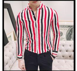 1fbec593dc5 2019 New Stylish Printed stripes men shirt Classical modis long sleeve  shirt men Streetwear striped camisa masculina