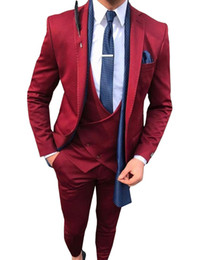 men s light gray suits Promo Codes - 2019 New Fashion Burgundy Men 's Suit 3 Pieces Formal Slim Fit Notch Lapel Party Tuxedos Groomsmen (Blazer+Vest+Pants) YM