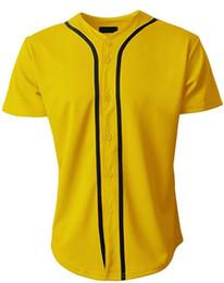 простые желтые майки Скидка Мужские майки бейсбольной команды 2019, однотонные, с короткими рукавами, желтые / черные майки