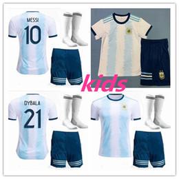 Jerseys uniformes argentina on-line-kids kit 2019 Copa América Argentina Casa camisa de futebol 19 20 Camisetas de futbol MESSI DYBALA HIGUAIN ICARDI camisa de futebol uniforme