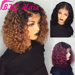 human hair heating Promo Codes - 1B 99J Burgundy Red Ombre Short curly simulation Human Hair Wigs Pre Plucked Blonde synthetic Lace Front Bob Wig heat resistant