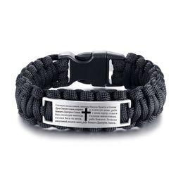 braccialetto arrampicata Sconti Vnox Sport Arrampicata Corda Intrecciata Bracciale Uomo Bibbia Preghiera del Signore Francese Deutsch Lingua Gioielli fortunati