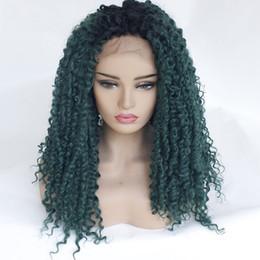 devant en dentelle synthétique vert foncé Promotion Dark Roots Ombre Vert Perruques Kinky Curly Lace Front Perruque Synthétique Cheveux Dentelle Perruques Perruque Synthétique Sans Colle Résistant À La Chaleur En Gros Pas Cher Perruques