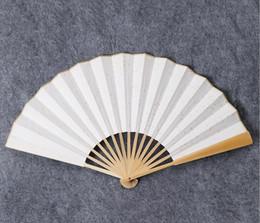 chinese fan diy Rabatt Papierfalten China Fan - Bambusrippen Plain Hand Fans mit traditionellen chinesischen Künsten DIY Handwerk Projekt Handheld Fans Hochzeit Mitbringsel