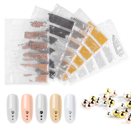 stud manicure Coupons - Tamax 6 Sizes Micro Nail drill Beads Stainless Steel nail sticker Decorations Studs Rose Gold Silver Caviar Manicure Nails Tips Accessories