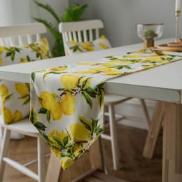 mesa de comedor paño estilo chino Rebajas Amarillo fruta mesa de cama de limón corredor corredores modernos de poliéster fiesta boda decoración país mantel